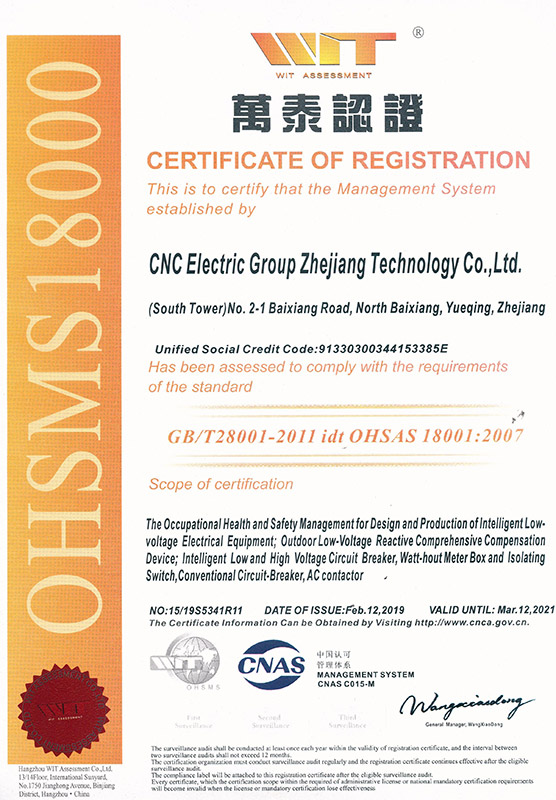 OHSAS18001体系认证 英文